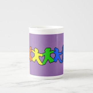 Regenbogen-Papierpuppen-Knochen-China-Tasse Porzellantasse