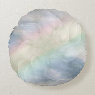 Regenbogen-PastellblumenMandalaentwurf Rundes Kissen