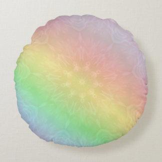 Regenbogen-PastellMandalaentwurf Rundes Kissen