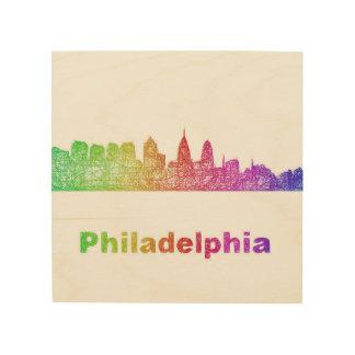 Regenbogen-Philadelphia-Skyline Holzdruck