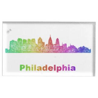 Regenbogen-Philadelphia-Skyline Platzkartenhalter
