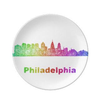 Regenbogen-Philadelphia-Skyline Porzellanteller