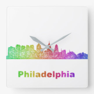 Regenbogen-Philadelphia-Skyline Quadratische Wanduhr