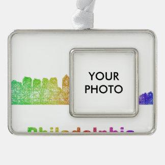 Regenbogen-Philadelphia-Skyline Rahmen-Ornament Silber