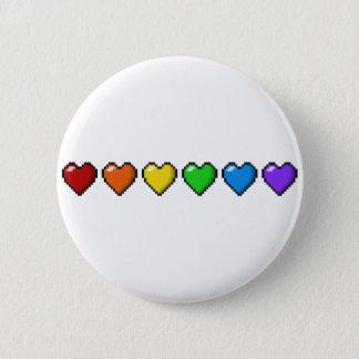 Regenbogen-Pixel-Herzen Runder Button 5,7 Cm