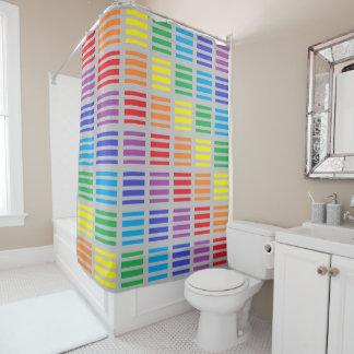 Regenbogen-Quadrat-und Streifen-Silber Duschvorhang
