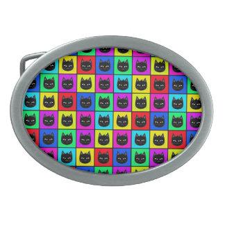 Regenbogen-quadratisches Katzen-Muster Ovale Gürtelschnalle