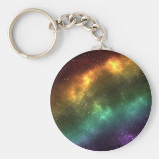 Regenbogen-Raum-Galaxie-Druck Standard Runder Schlüsselanhänger
