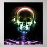 Regenbogen-Röntgenstrahl-Musik-Kopfhörer Skeleton Posterdruck