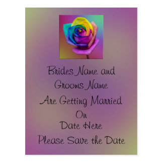 Regenbogen-Rosen-Blume, die Save the Date Wedding Postkarte