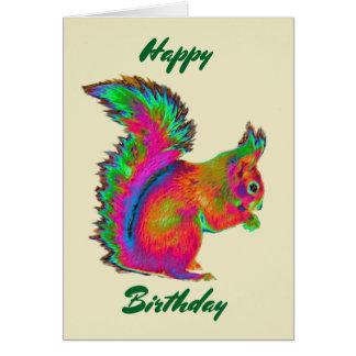 Regenbogen-rotes Eichhörnchen. Alles Gute zum Karte