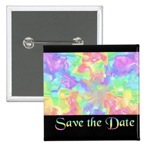 Regenbogen Save the Date Anstecknadelbuttons