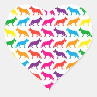Regenbogen Schäferhunde Herz-Aufkleber