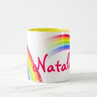 Regenbogen scherzt Namen-Tasse des Buchstaben 7 Zweifarbige Tasse