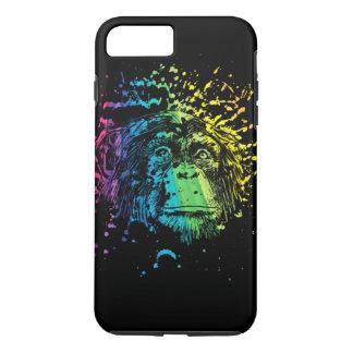 Regenbogen-Schimpanse auf Schwarzem iPhone 8 Plus/7 Plus Hülle