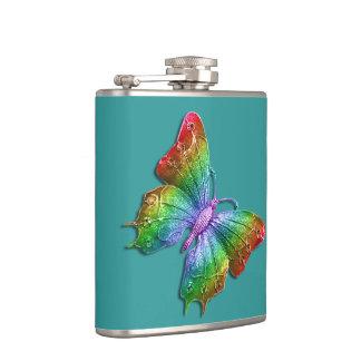 Regenbogen-Schmetterling Jeweled 3D Effekt | Girly Flachmann
