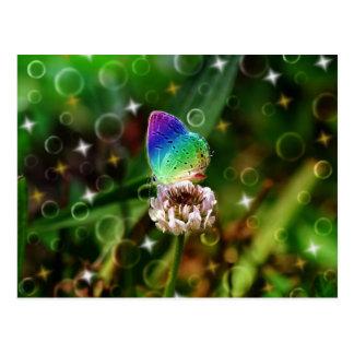 Regenbogen-Schmetterling Postkarte