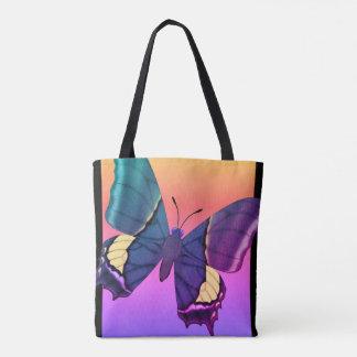 Regenbogen-Schmetterling Tasche