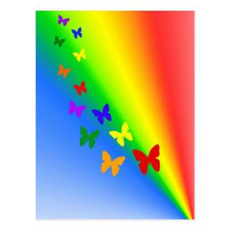 Regenbogen-Schmetterlinge Postkarte