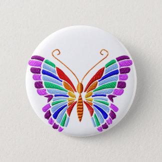 Regenbogen-Schmetterlings-Stickerei-Ähnlicher Runder Button 5,1 Cm