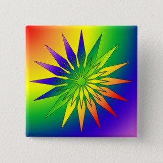 Regenbogen-Schneeflocke 41 Quadratischer Button 5,1 Cm