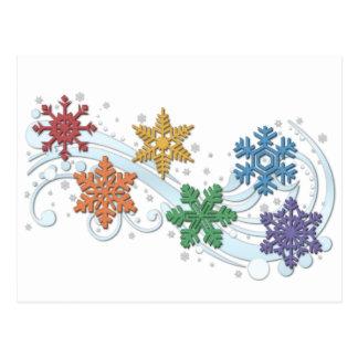 Regenbogen-Schneeflocken Postkarte