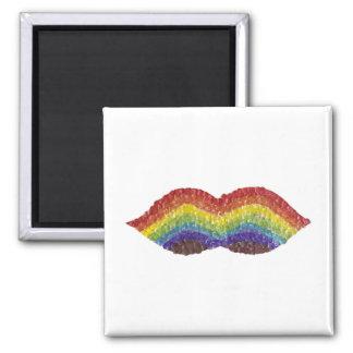 Regenbogen-Schnurrbart-Magnet Quadratischer Magnet