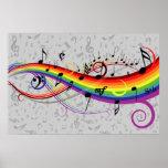 Regenbogen-schwarzes und graues Musiknoten-Plakat