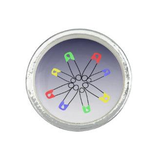 Regenbogen-Sicherheits-Button-solidaritäts-blaues Ringe
