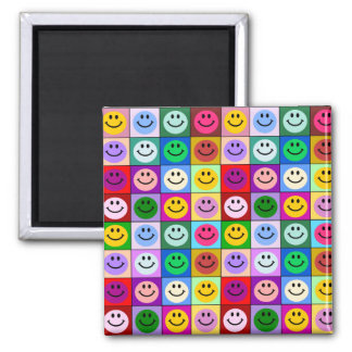 Regenbogen-Smileyquadrate Quadratischer Magnet