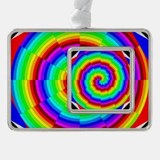 Regenbogen-Spirale Rahmen-Ornament Silber