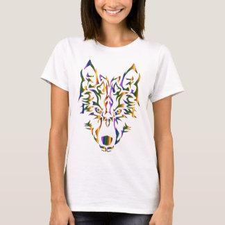 Regenbogen-Stammes- Wolf-Kopf (vorwärts schauend) T-Shirt