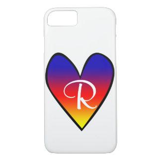 Regenbogen-Steigungs-Herz mit Initiale iPhone 8/7 Hülle