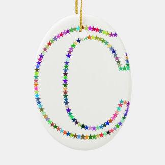 Regenbogen-Stern-Buchstabe C Keramik Ornament