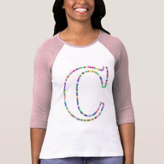 Regenbogen-Stern-Buchstabe C T-Shirt