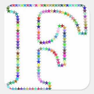 Regenbogen-Stern-Buchstabe F Quadratischer Aufkleber