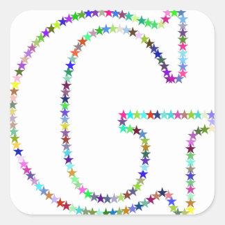 Regenbogen-Stern-Buchstabe G Quadratischer Aufkleber
