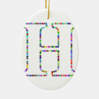 Regenbogen-Stern-Buchstabe H Keramik Ornament