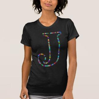 Regenbogen-Stern-Buchstabe J T-Shirt