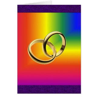 Regenbogen-Stolz mit Goldhochzeits-Bändern Grußkarte
