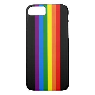 Regenbogen-Streifen auf schwarzer Unterstützung iPhone 8/7 Hülle