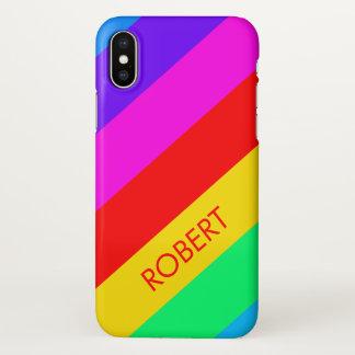 Regenbogen-Streifen-Gewohnheit iPhone X Hülle