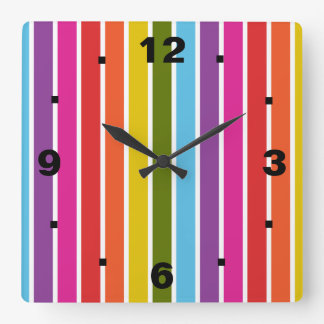 Regenbogen-Streifen Quadratische Wanduhr