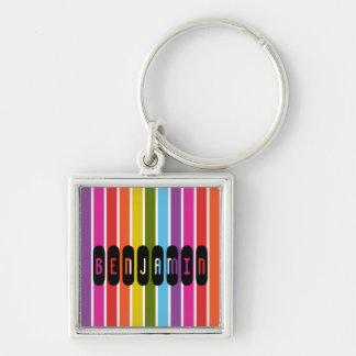 Regenbogen Stripes personalisiertes Schlüsselanhänger