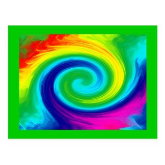 Regenbogen-Strudel-abstrakter Kunst-Entwurf Postkarte