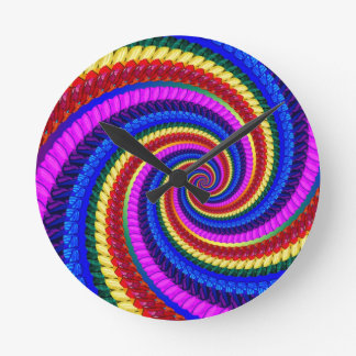 Regenbogen-Strudel-Fraktal-Muster Runde Wanduhr