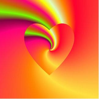 Regenbogen-Strudel-Liebe-Herz Freistehende Fotoskulptur