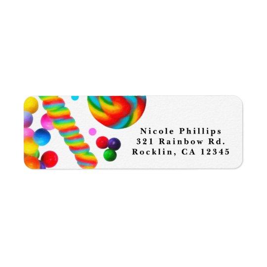Regenbogen-Süßigkeits-süße Geburtstags-Party Kleiner Adressaufkleber