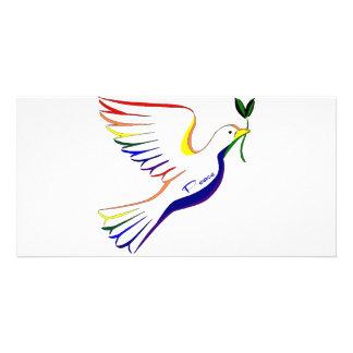 Regenbogen-Taube Foto Karten Vorlage