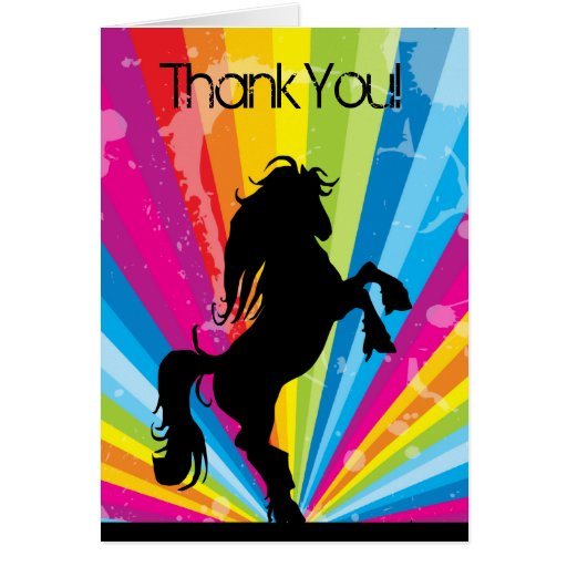 Regenbogen Techno Silhouette-Pferd danken Ihnen zu Karten